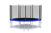 Батут SkyJump диаметром 374см (12ft) для детей спортивный с лестницей и внешней сеткой