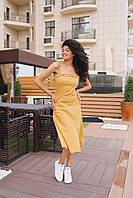 """Женское платье миди """"Феникс"""" - горчица , фото 3"""