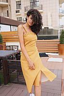 """Женское платье миди """"Феникс"""" - горчица , фото 4"""