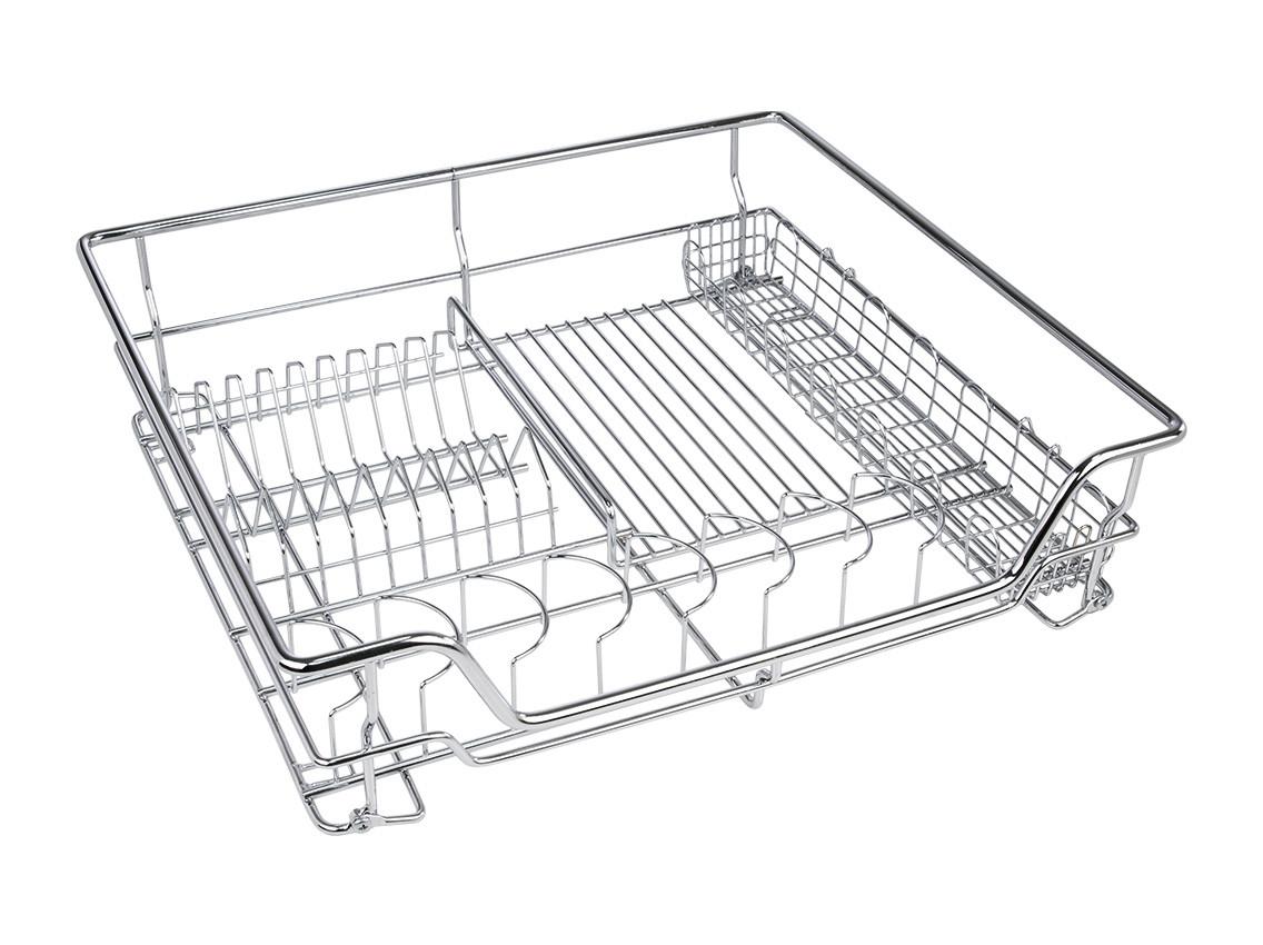 Кухоний посудосушитель GIFF хром з дотягувачем (1 полиця, 1 піддон) під фасад 600мм