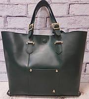 Женская зелёная сумка из натуральной кожи на регулируемых ручках