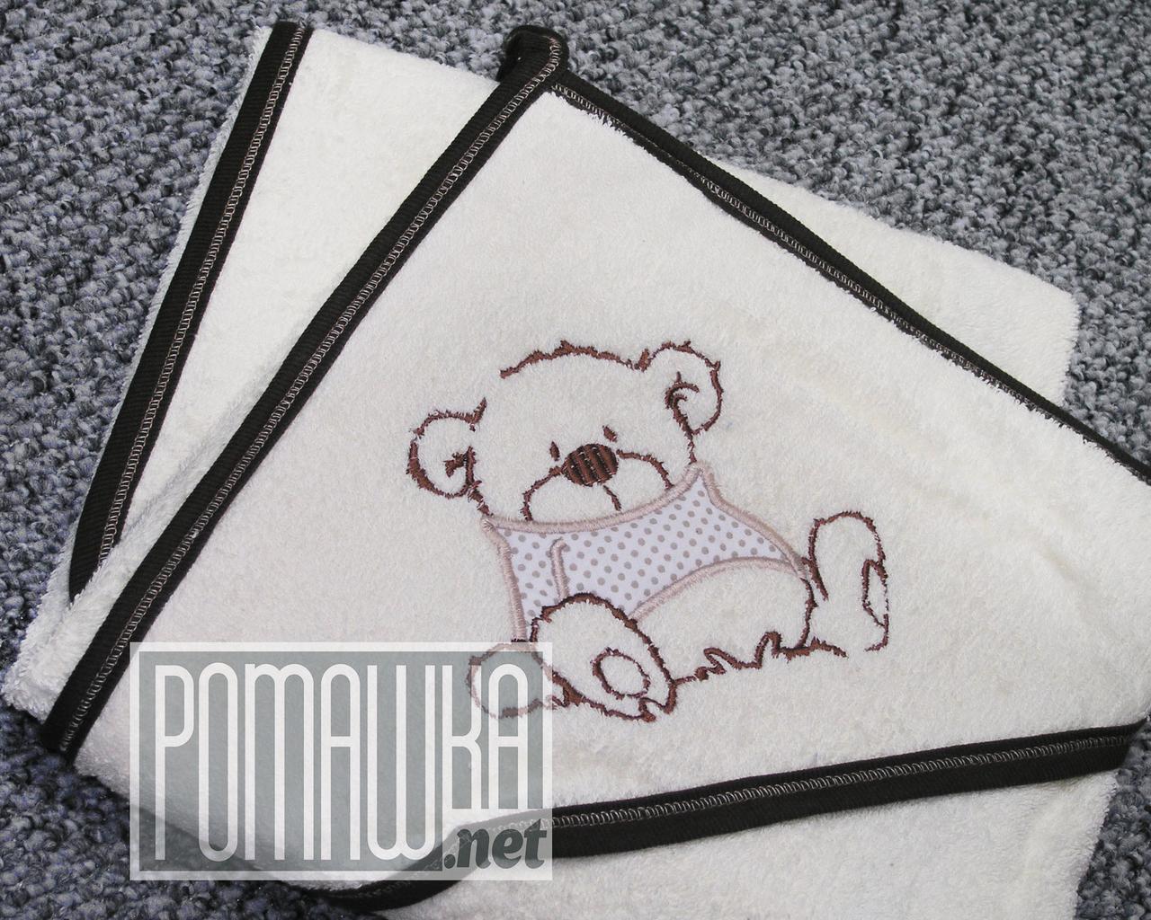 Качественное 85*85 детское махровое полотенце уголок с капюшоном уголком для купания новорожденных 4802 Коричн
