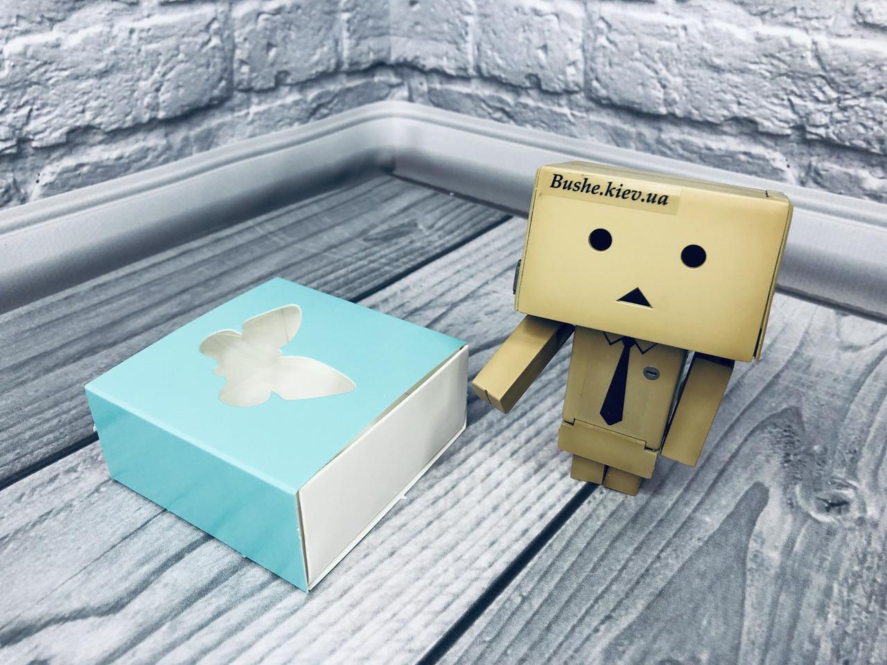 Коробка для пряников / 80х80х35 мм / печать-Бирюза / окно-Бабочка  / лк