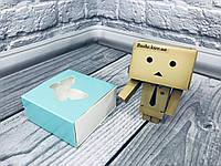 Коробка для пряников / 80х80х35 мм / печать-Бирюза / окно-Бабочка  / лк, фото 1