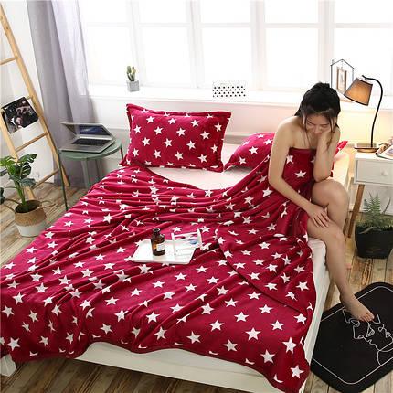Плед покрывало 160х220 велсофт Звезды красные на кровать, диван, фото 2