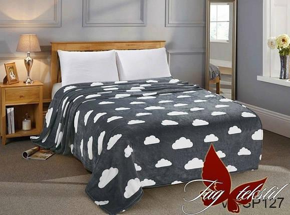 Плед покрывало 160х220 велсофт Тучки на кровать, диван, фото 2