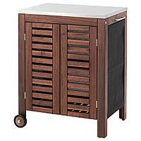 IKEA APPLARO/KLASEN Садовый шкаф для хранения, коричневая морилка, сталь (091.299.99)