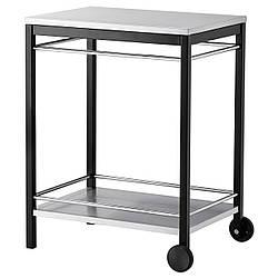 IKEA KLASEN Столик на колесиках для гриля, нержавеющая сталь черная  (499.318.02)