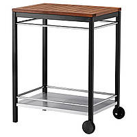 IKEA KLASEN Столик на колесиках для гриля, нержавеющая сталь, коричневая морилка  (290.334.15)