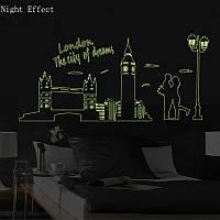 Светящаяся люминесцентная (фосфорная) наклейка на стену Ночной Лондон 160х70см (V577)