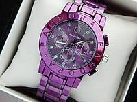 Жіночі наручні годинники Pandora фіолетового кольору на металевому браслеті, фото 1