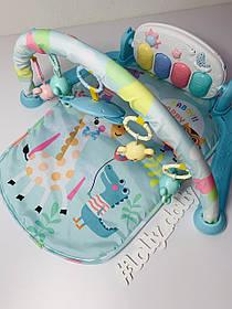 Развивающий коврик-пианино для младенца 681-682, Голубой