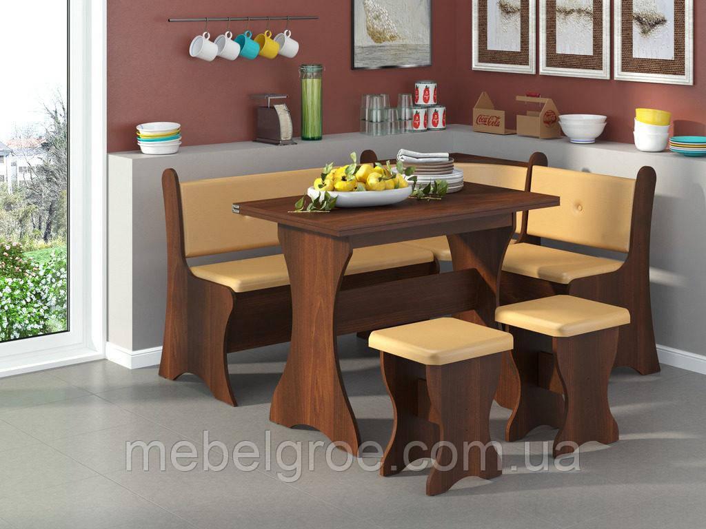Кухонный уголок Маркиз с раскладным столом и табуретами тм Пехотин