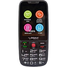 Телефон кнопочный с большим экраном бабушкофон с озвучкой цифр при наборе Sigma Comfort 50 Elegance 3 черный
