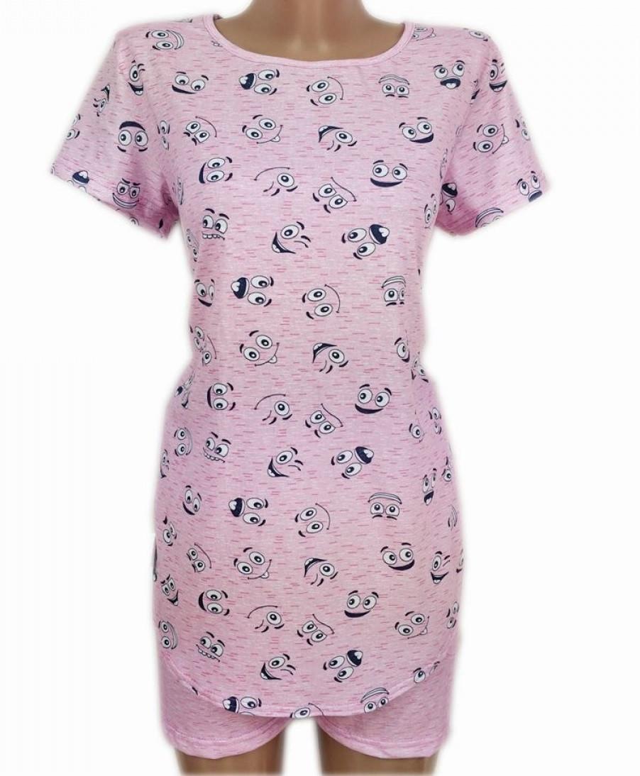 Пижама женская с шортами и футболкой удлиненной домашняя трикотжная хлопковая