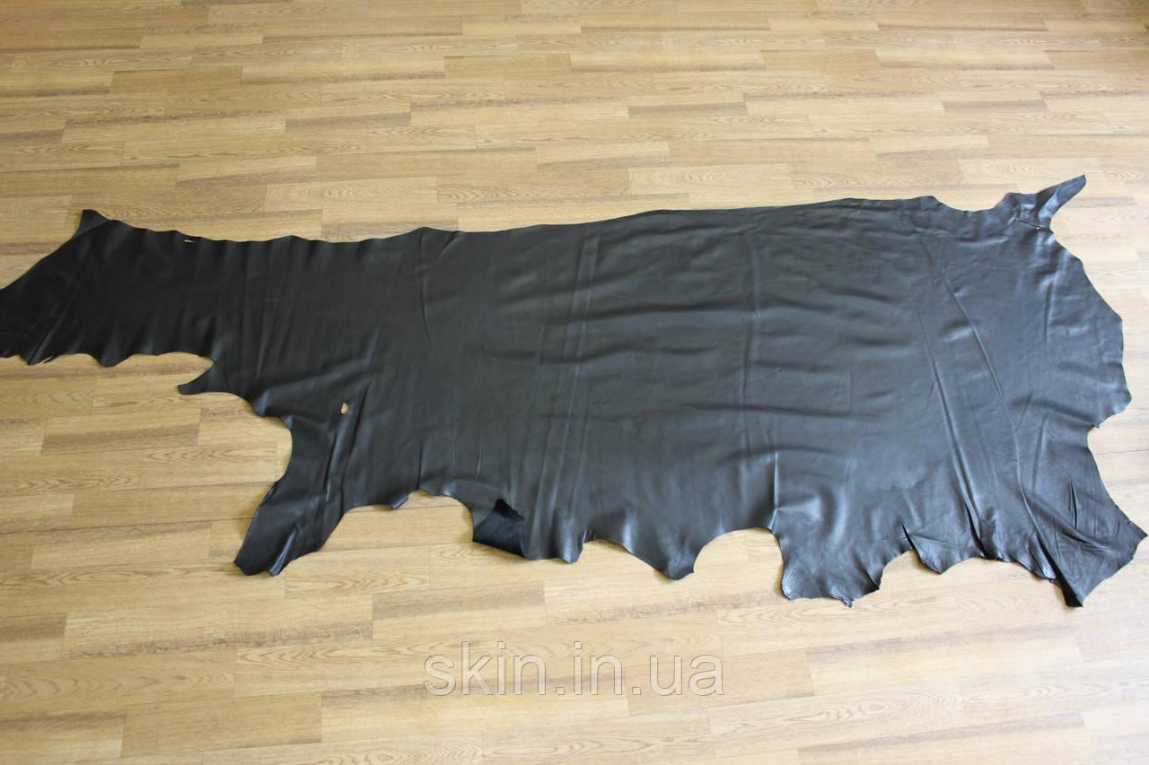 Натуральная кожа для подкладки черного цвета, толщина 0.8 мм, арт. СК 1326