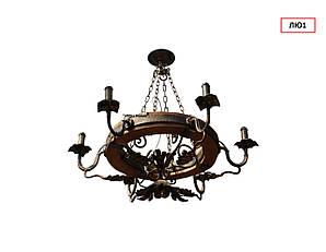 Люстра на 6 ламп круглая с натуральным деревом дуб цоколь Е 14