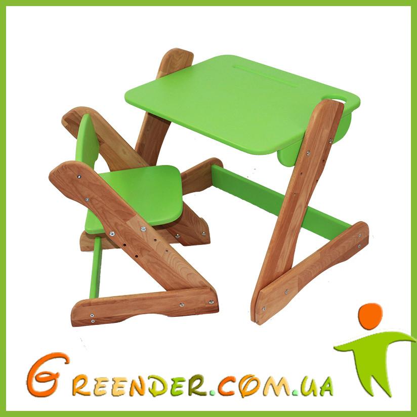 Детский столик и стульчик зеленый от производителя! (с регулировкой)