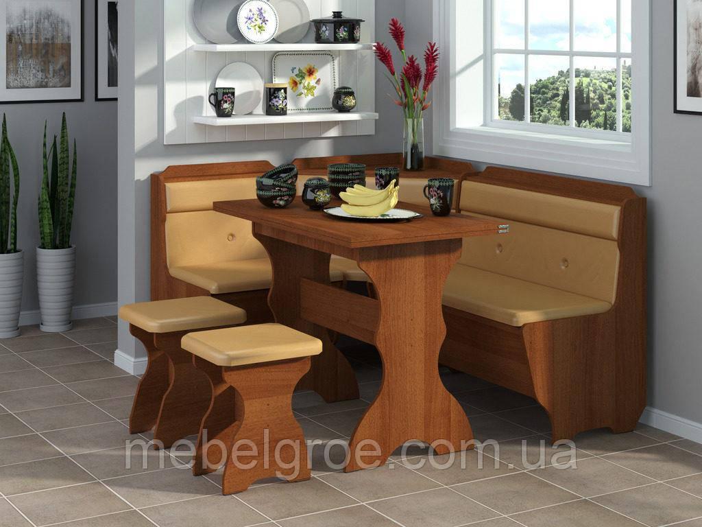 Кухонный уголок Кардинал с раскладным столом и табуретами тм Пехотин
