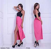 Яркое двухцветное пляжное платье с открытой спиной и завязкой на шее  Galantis