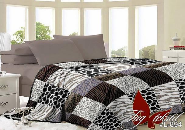 Плед покрывало 160х220 велсофт Клетка на кровать, диван, фото 2