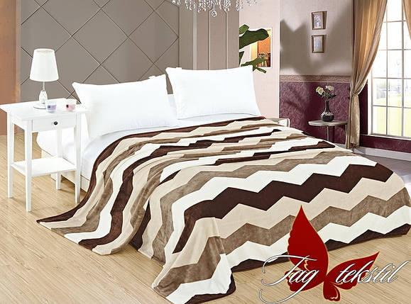 Плед покрывало 160х220 велсофт Зигзаг бежевый на кровать, диван, фото 2