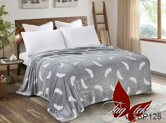 Плед покрывало 160х220 велсофт Перышки на кровать, диван, фото 2