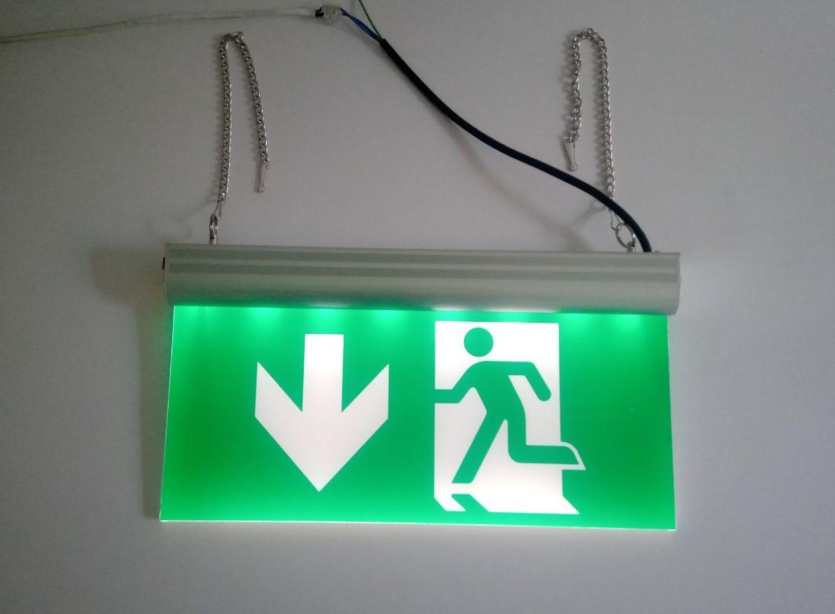 Указатель эвакуационного выхода аккумуляторный для аварийного освещения 220В со стрелкой вниз