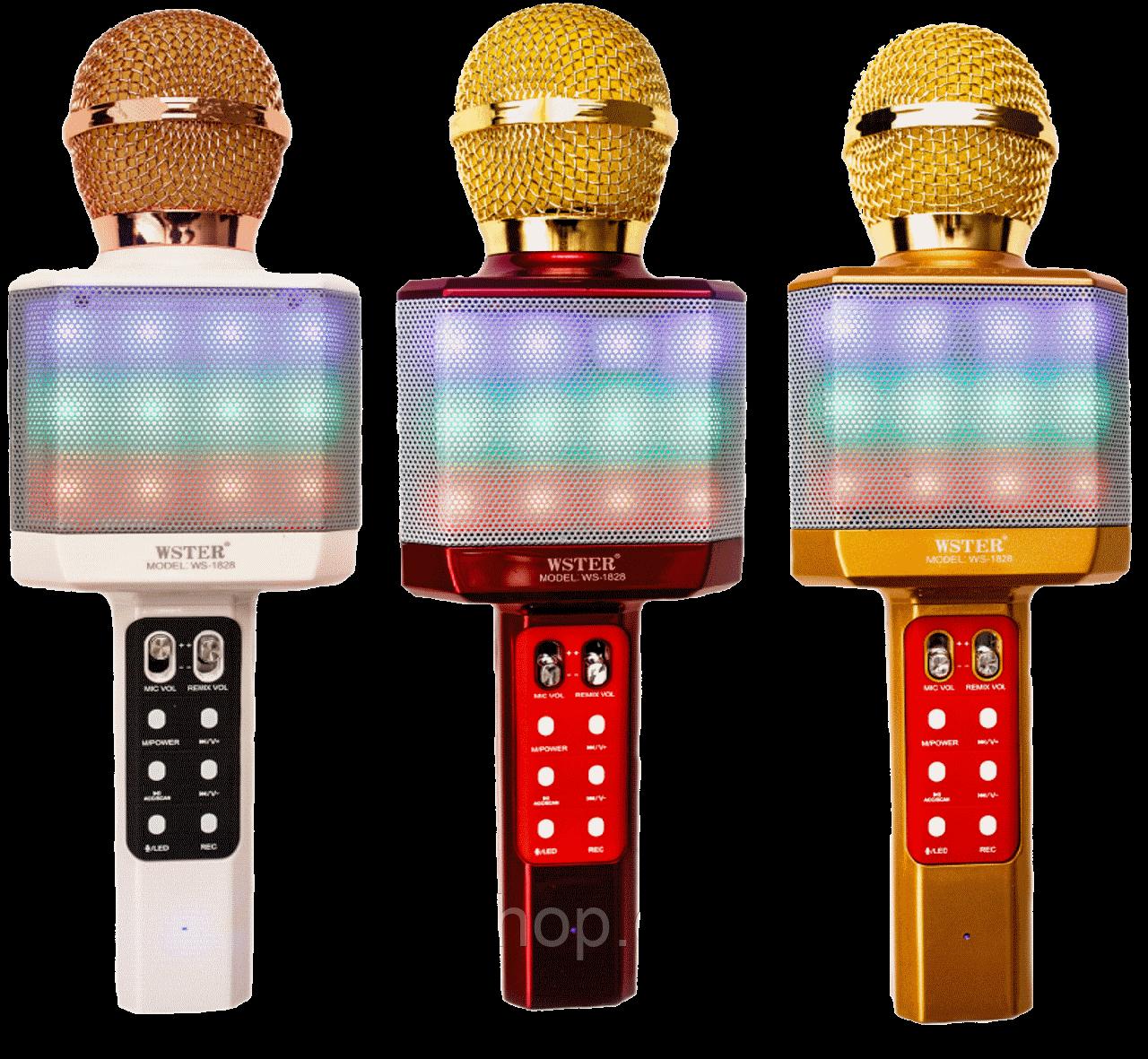 Портативний бездротової блютуз мікрофон WS-1828 + караоке