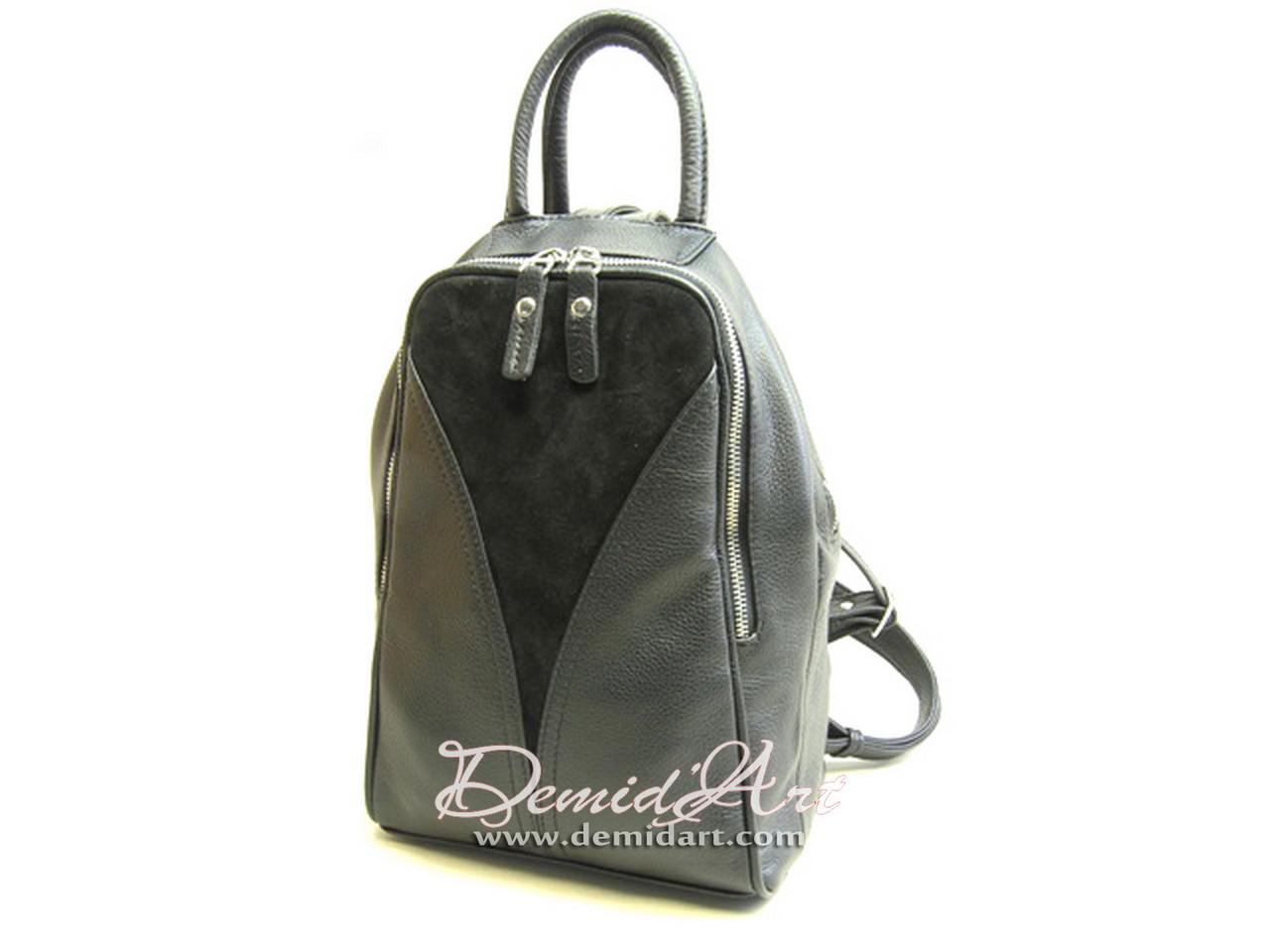 Вместительный кожаный рюкзак.