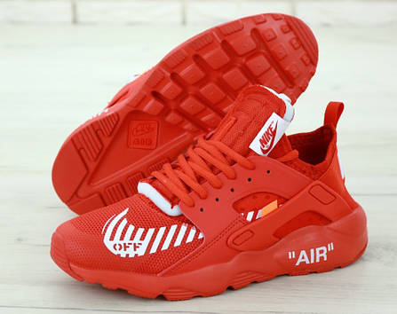 Мужские кроссовки Nike Air Huarache Off White Red , фото 2