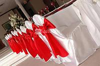 Аренда праздничных чехлов на стулья, юбки на столы. Прокат свадебного декора.