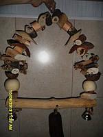 Деревянные качели для крупного попугая ЖАКО, АРА, КАКАДУ.