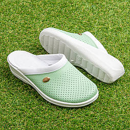Сабо кожаные Tellus 51-08/06GRW Зеленый