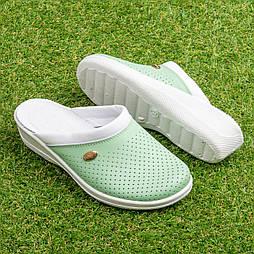 Женские кожаные сабо Tellus 51-08/06GRW Зеленые