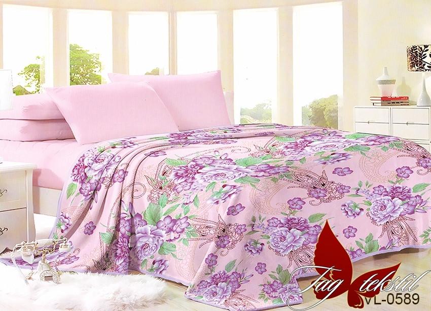 Плед покрывало 160х220 велсофт Цветы розовые на кровать, диван