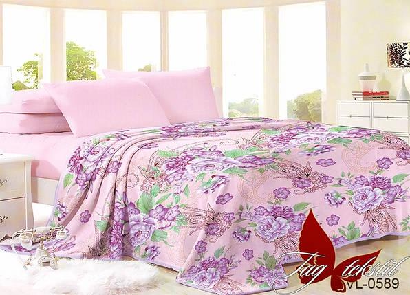 Плед покрывало 160х220 велсофт Цветы розовые на кровать, диван, фото 2