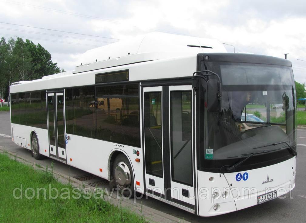 Новый пригородный автобус МАЗ 203 С65 с газовым двигателем