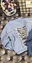Куртка джинсовая с рваными разрезами и жемчугом на спине., фото 7
