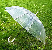 Зонт трость прозрачный (14 спиц) без принта Полуавтомат, фото 3