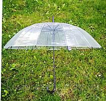 Зонт трость прозрачный (14 спиц) без принта Полуавтомат, фото 2