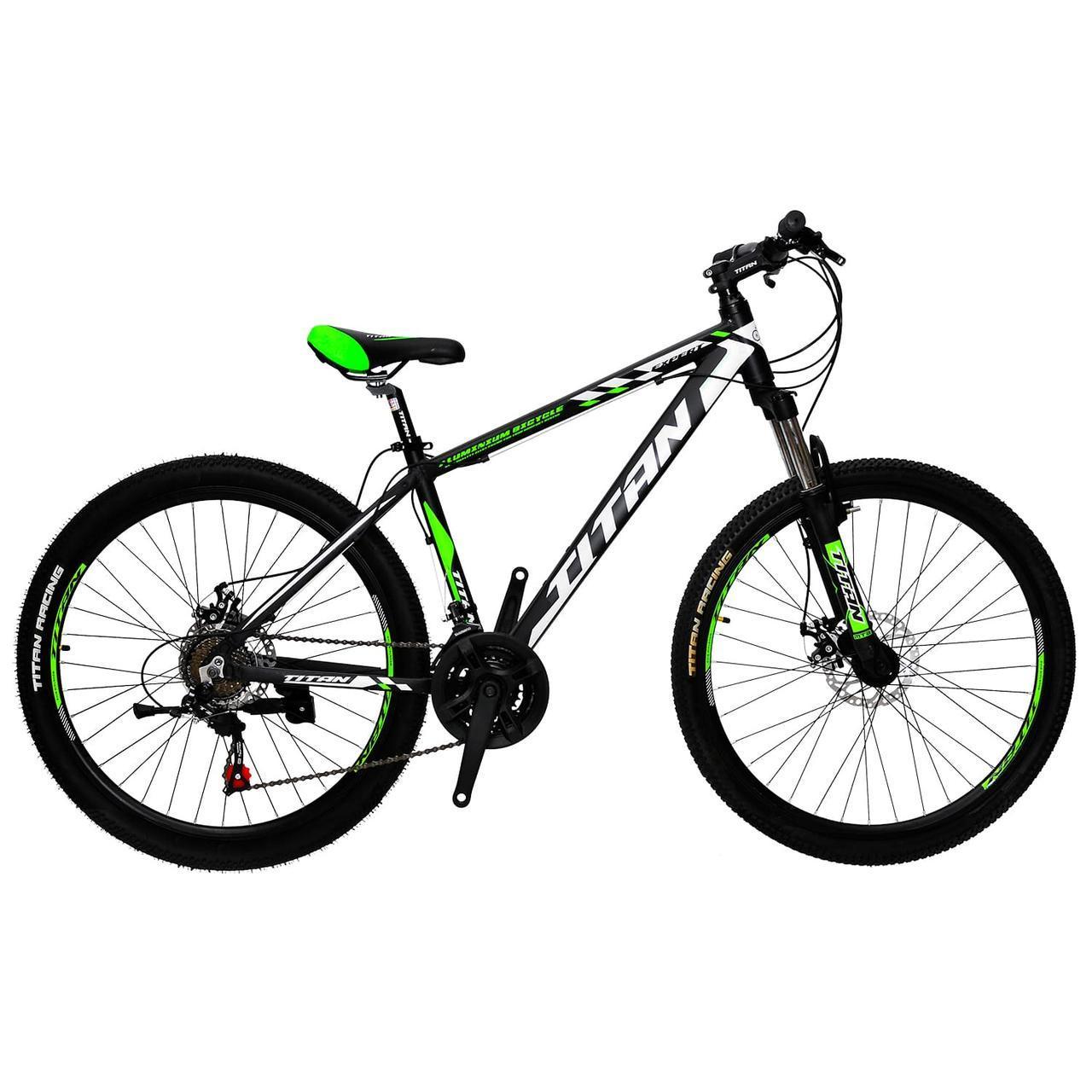🚲Горный алюминиевый велосипед TITAN EXPERT DD (Shimano, моноблок, Lockout); рама 16; колеса 26
