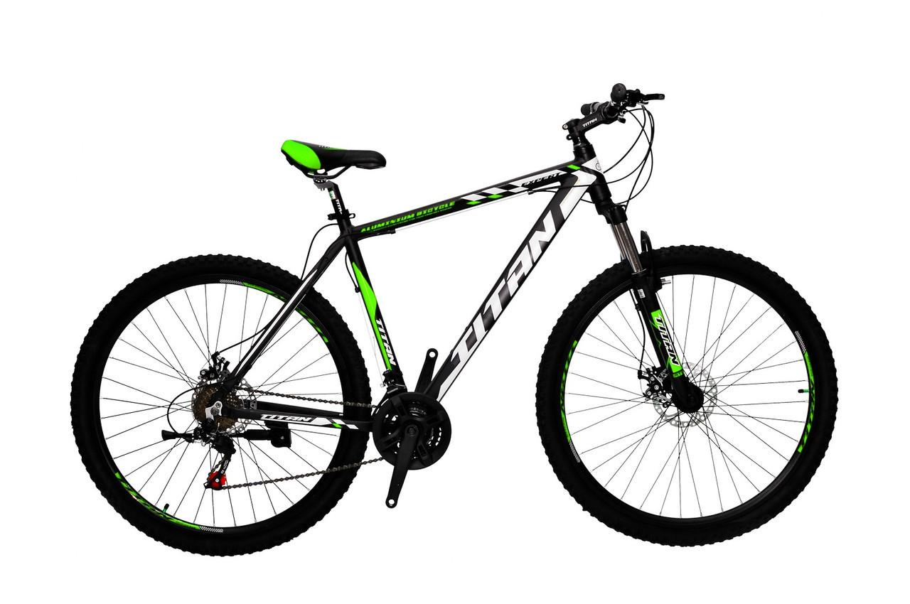 🚲Горный алюминиевый велосипед TITAN EXPERT DD (Shimano, моноблок, Lockout); рама 21; колеса 29