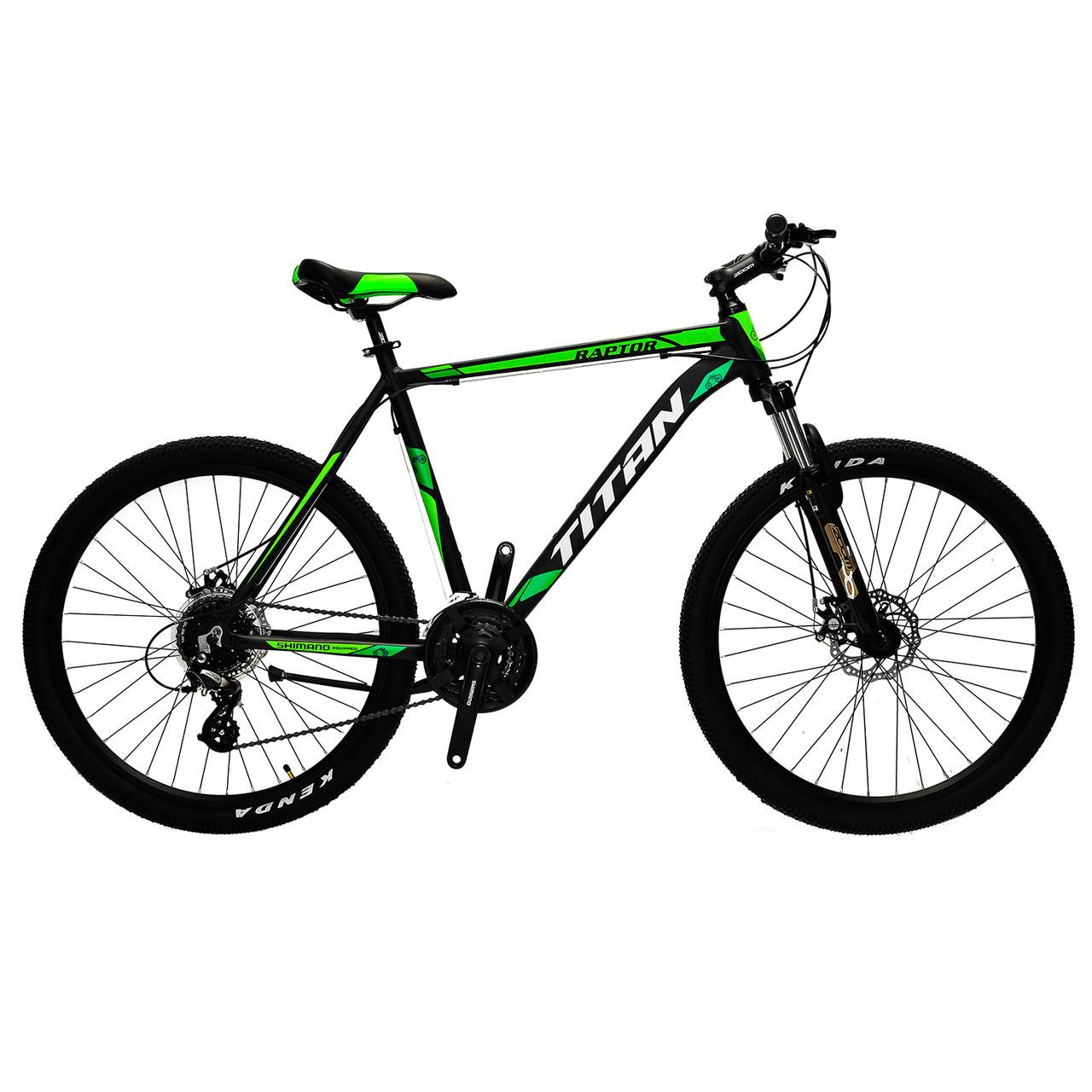 🚲Горный алюминиевый велосипед TITAN RAPTOR DD 2018 (Shimano, 24sp, Lockout); рама 21; колеса 26