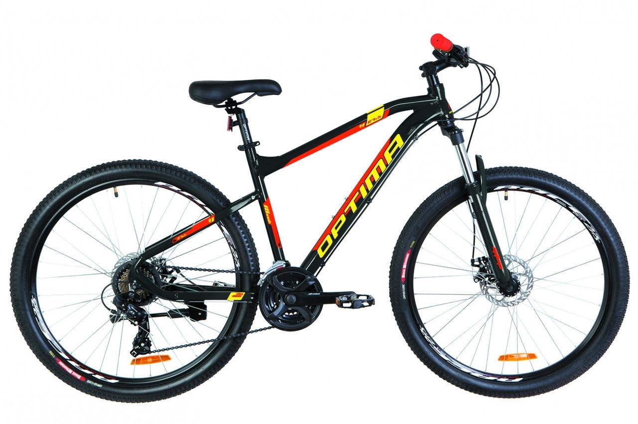 🚲Горный алюминиевый дисковый велосипед Optima F-1 DD 2019 (Shimano, моноблок, LockOut, 100mm); рама 18; колеса 27,5