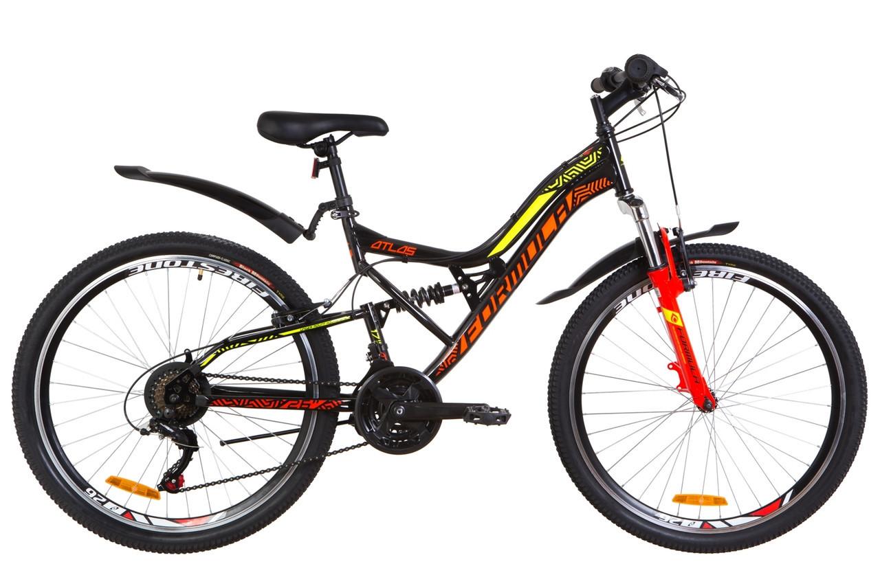🚲Горный стальной велосипед двухподвес Formula ATLAS 2019 (Shimano, 21 speed); колеса 26