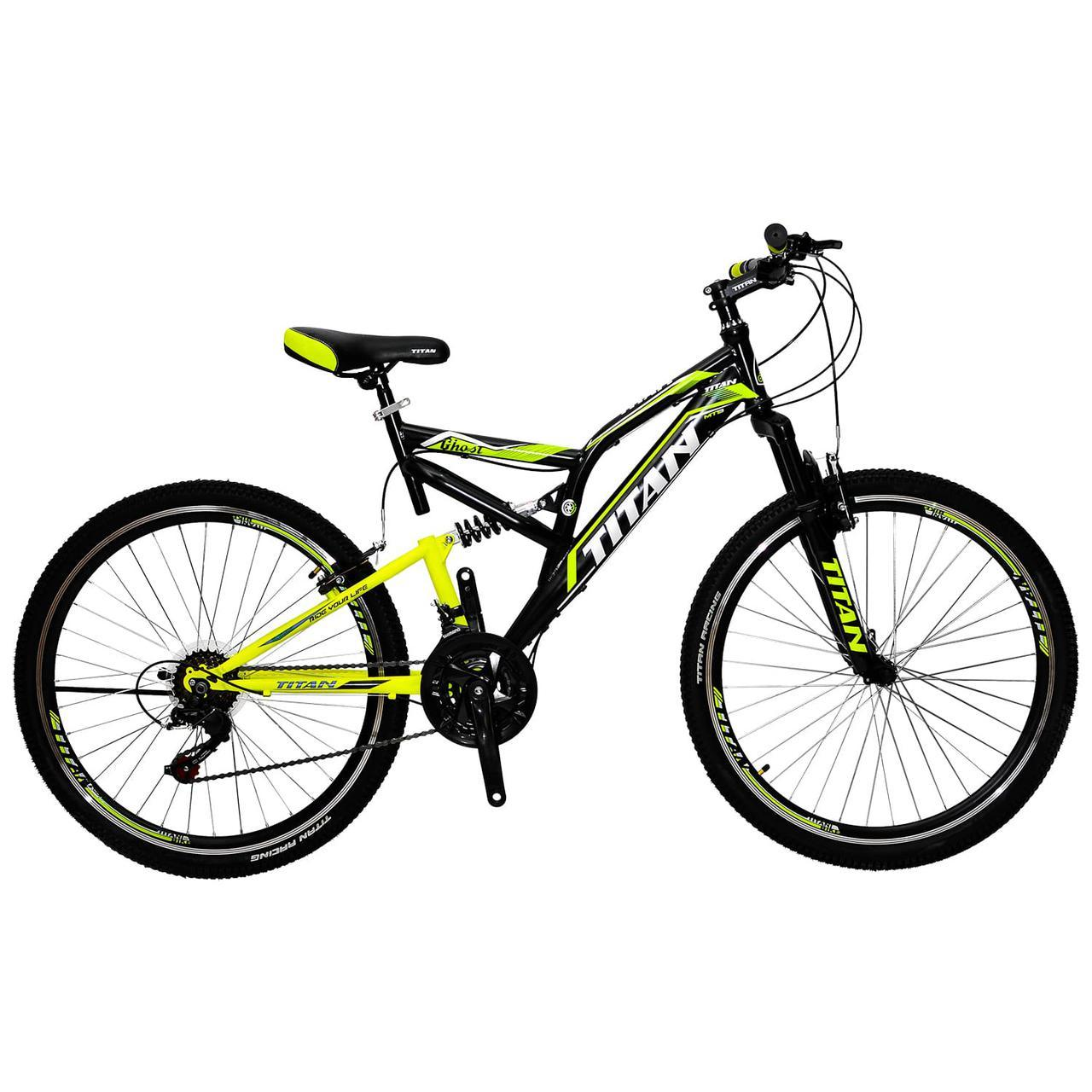 🚲Горный стальной велосипед двухподвесник Titan GHOST (Shimano, моноблок); рама 18; колеса 26