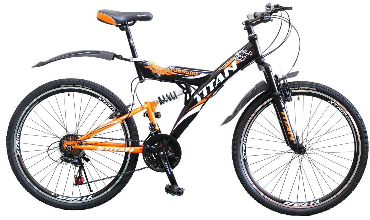 🚲Горный стальной велосипед двухподвесник Titan Tornado (Shimano, моноблок); рама 18; колеса 26