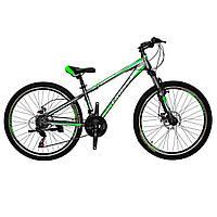 🚲Горный стальной дисковый велосипед (взросло-подростковый) CROSS RACER (21 speed, полуавтоматы); рама 13; колеса 26 , фото 1