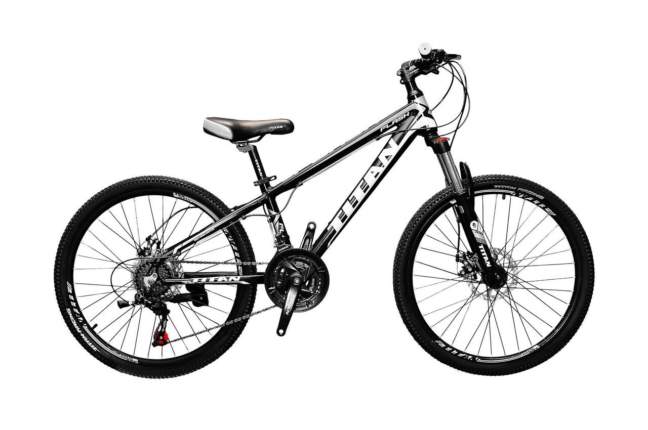 🚲Подростковый алюминиевый дисковый велосипед TITAN FLASH (Shimano, 21 speed, моноблок); рама 12; колеса 24